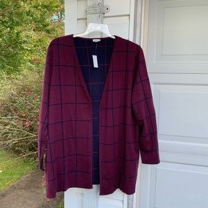 NWT Talbots Maroon Navy Plaid Fly-away Cardigan